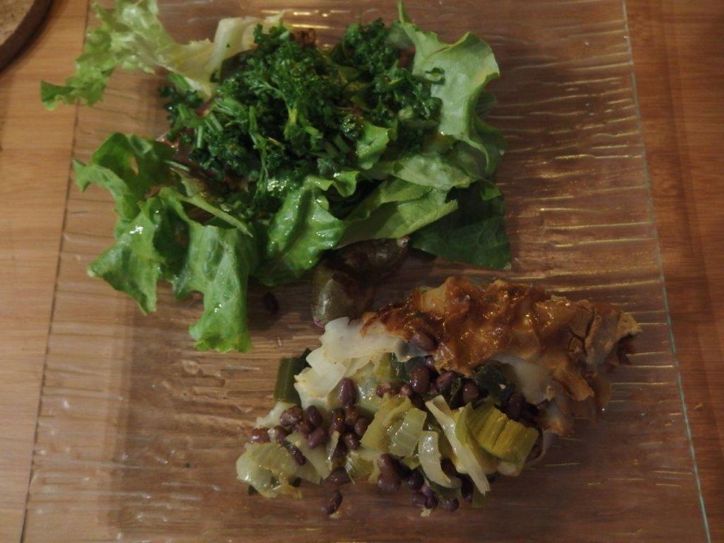 Lasagne aux feuilles de riz poireaux et azukis