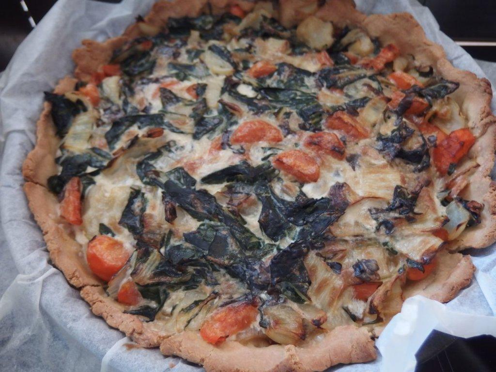 Tarte farine de pois chiche et riz aux légumes