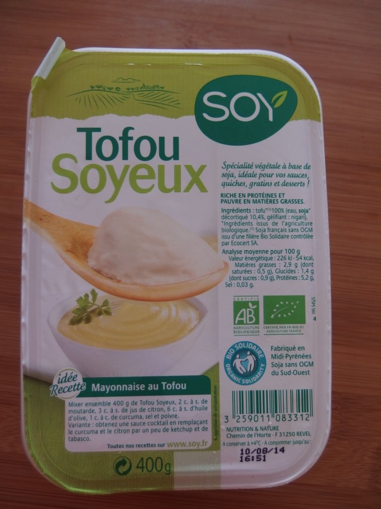 Tofu soyeux pour recette tiramisu