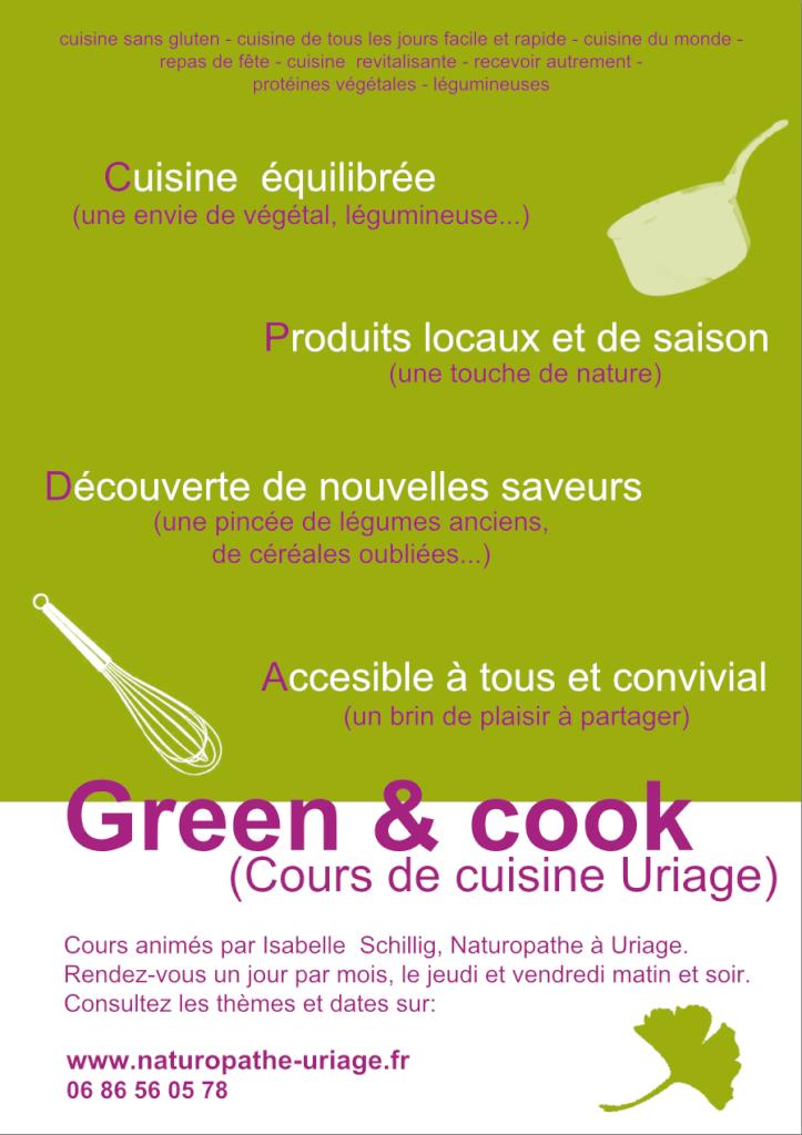 Cours de cuisine Santé à Uriage, Isabelle Schillig