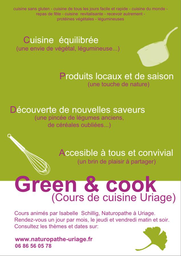 Cours de cuisine avec une naturopathe à Uriage