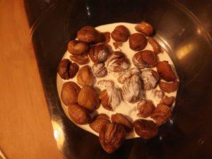 Chataignes, crème et lait de soja