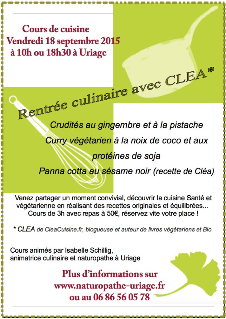 Cours de cuisine Uriage Naturopathe