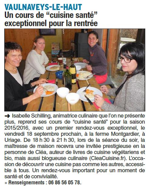 Cours cuisine Uriage 2015-2016 Dauphiné