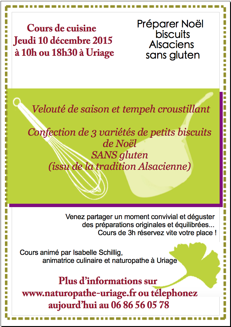 Cours cuisine Santé Grenoble 10:12:2015